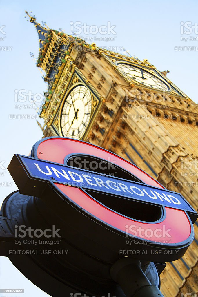 Big Ben with London Underground sign royalty-free stock photo