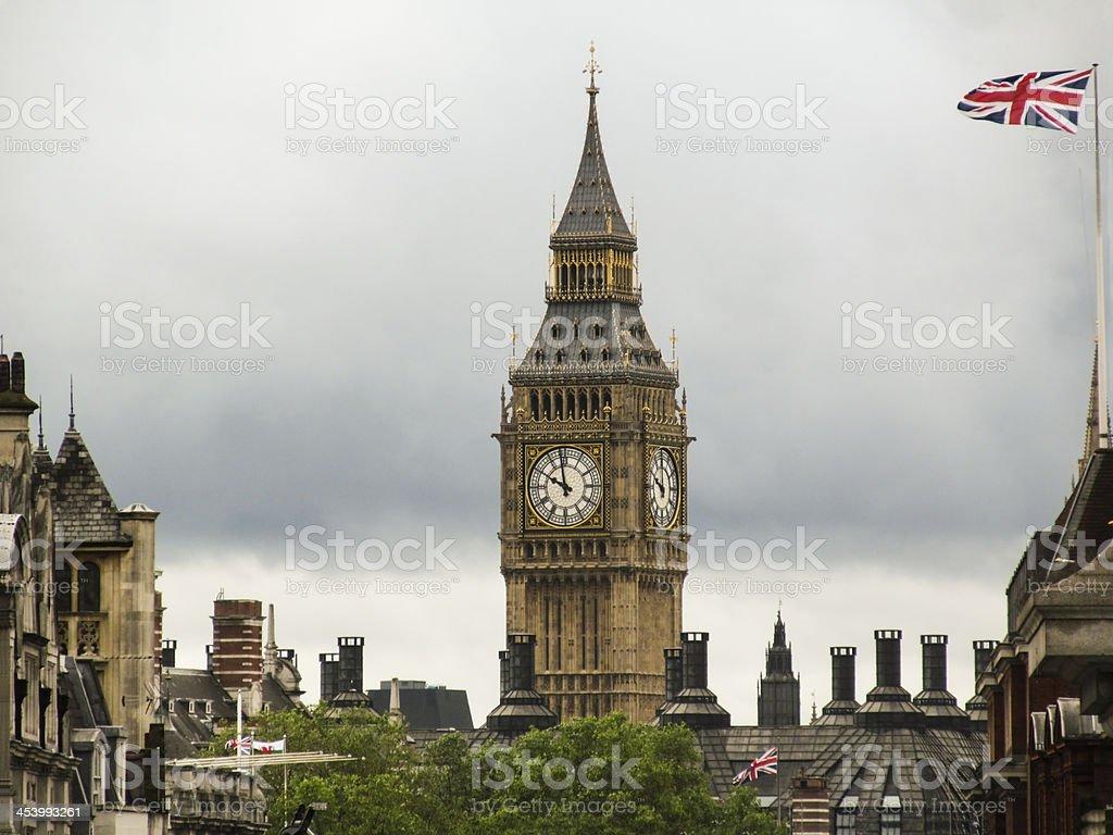 big beng and england flag royalty-free stock photo