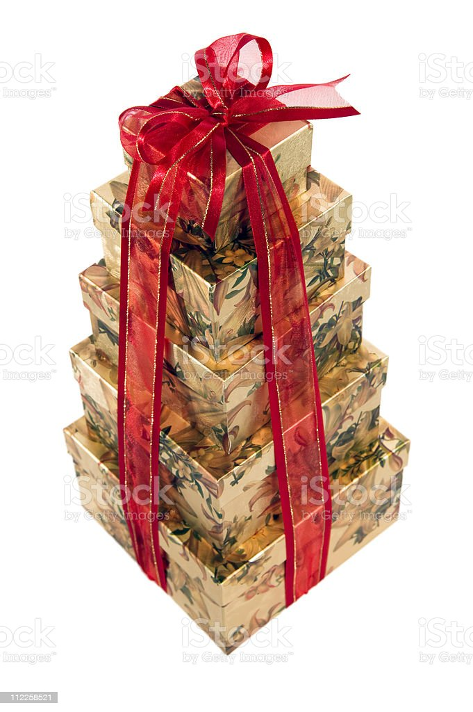 Big, Bigger, Biggest, Holiday gift boxes stock photo
