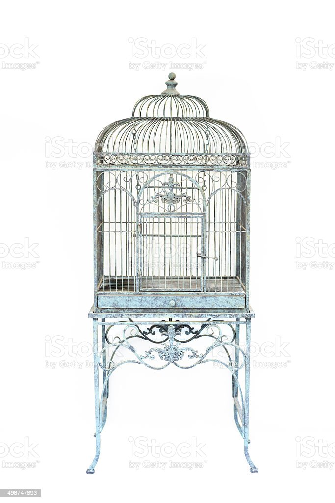 Big bird cage vintage style isolated background stock photo