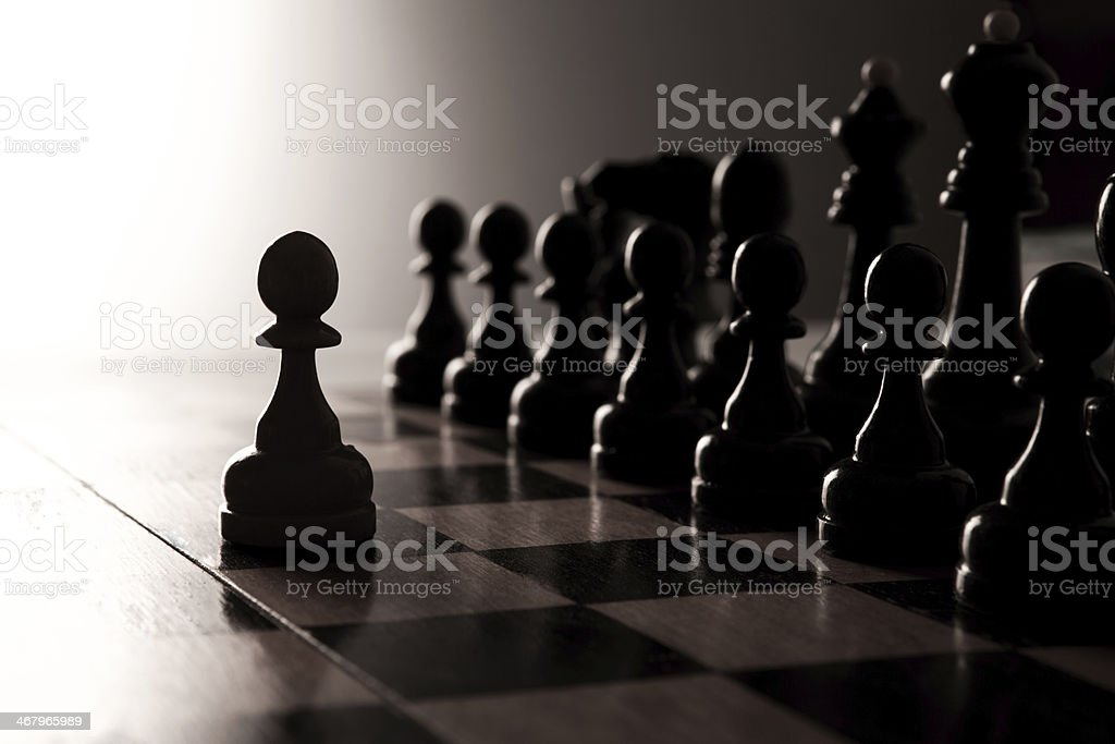 big black chess pieces set stock photo