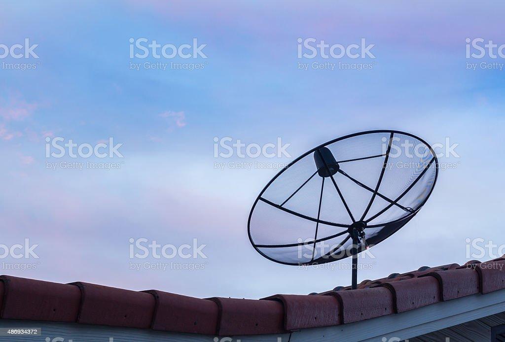 Big Black Satellite Dish on the roof stock photo
