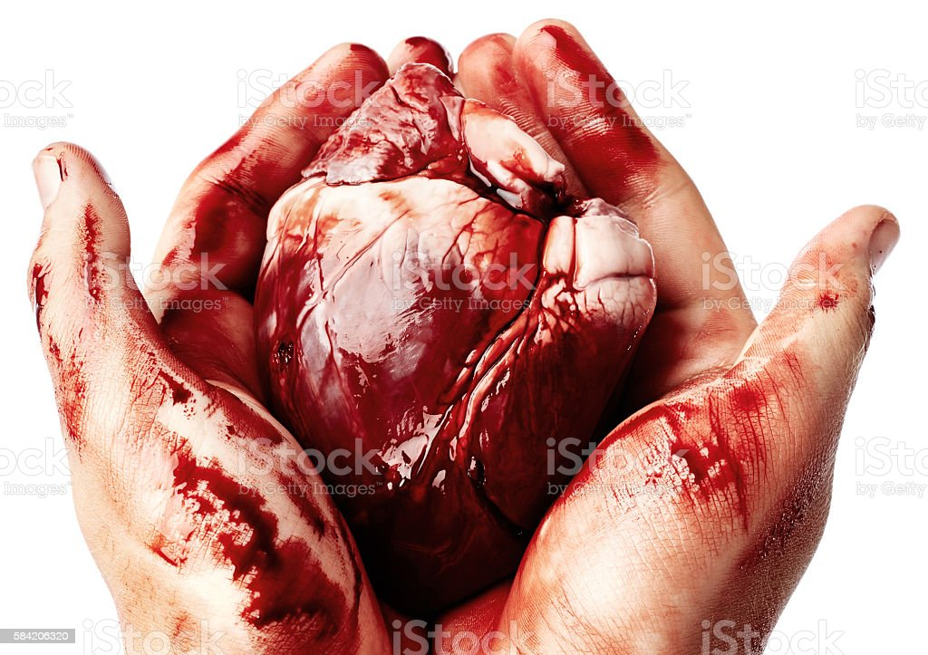 Big bloody heart in male hands stock photo