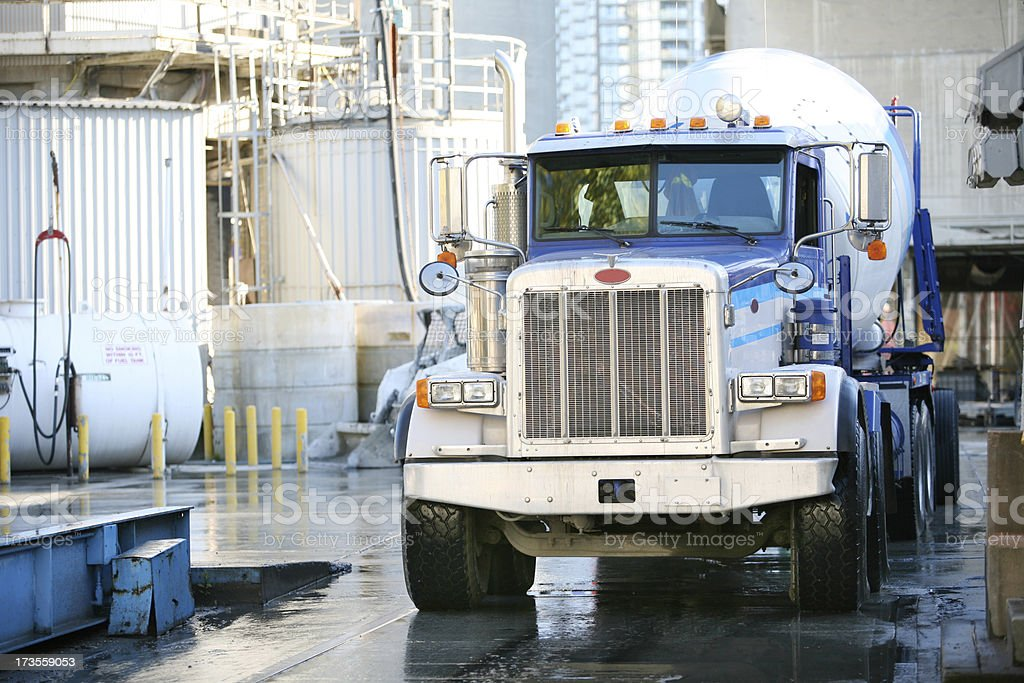 Big Blue Cement Mixer about to leave the Plant royalty-free stock photo