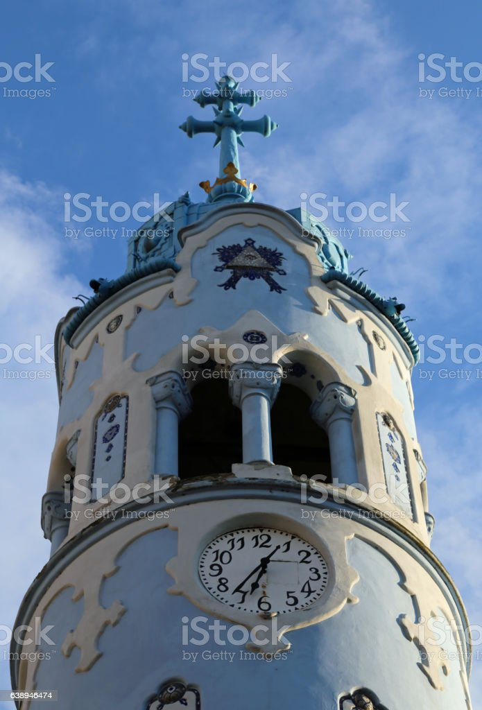 big Blue Church in Bratislava in Slovakia Europe stock photo
