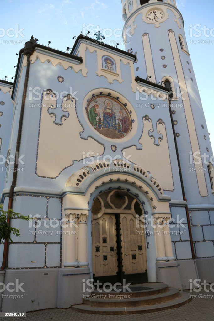 big Blue Church in Bratislava in Slovakia stock photo