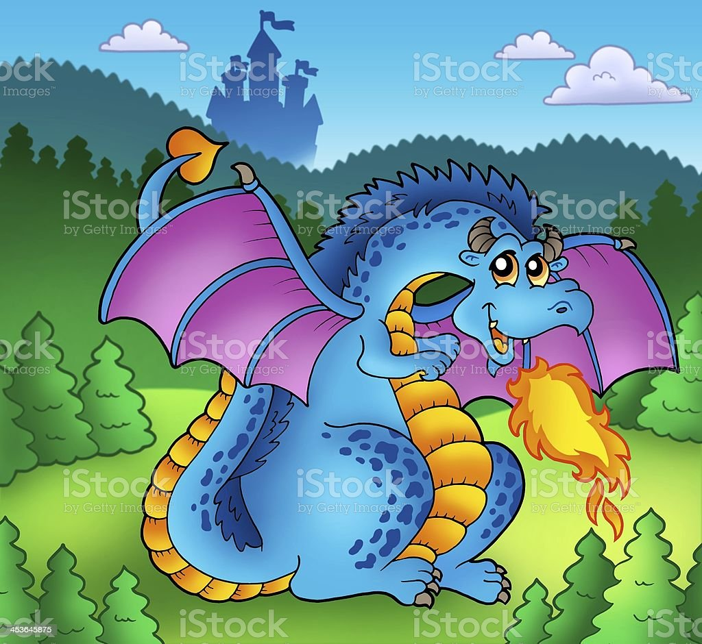 Big blue fire dragon with old castle stock photo