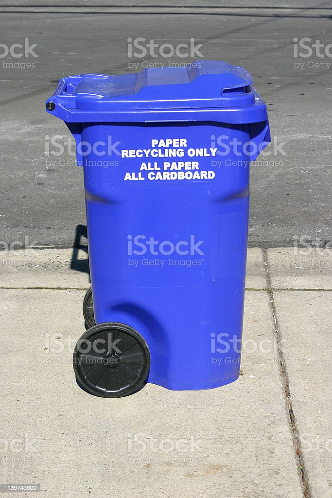 Big Blue Recycling Tub with Wheels royalty-free stock photo