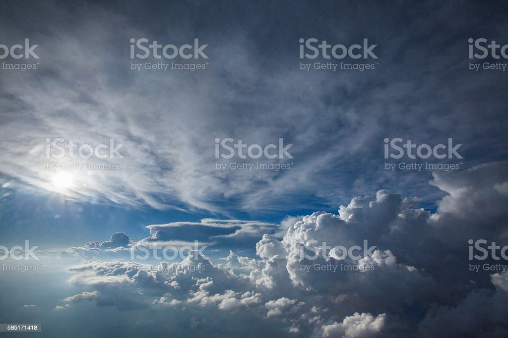 big blue sky and clouds stock photo