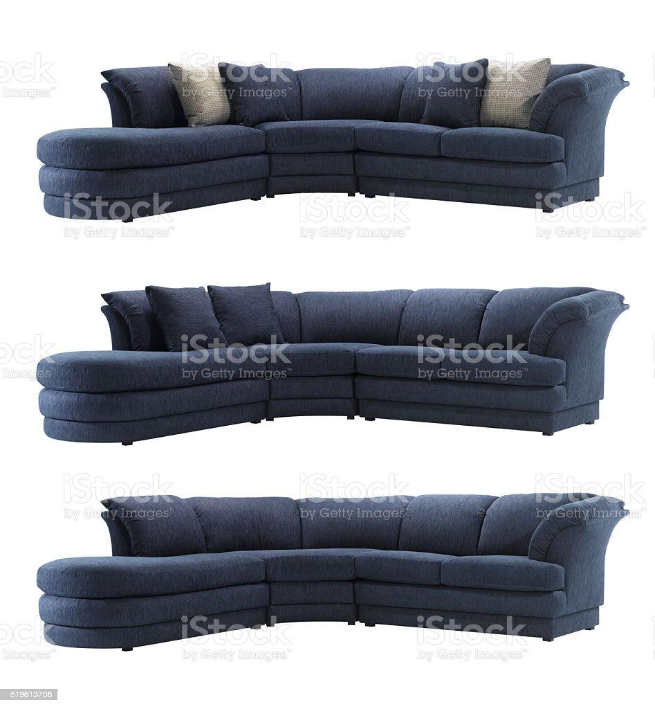 Big blue sofa stock photo
