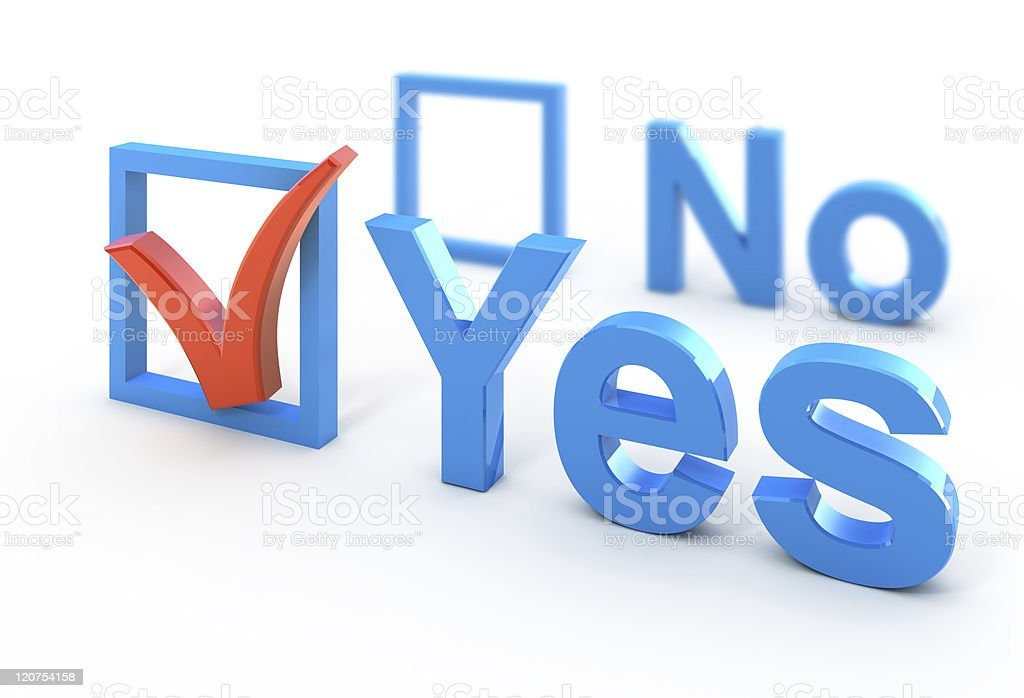 A big blue yes checked off and a no in the background royalty-free stock photo