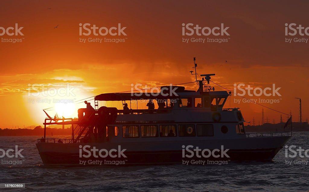 big boat at sunset royalty-free stock photo
