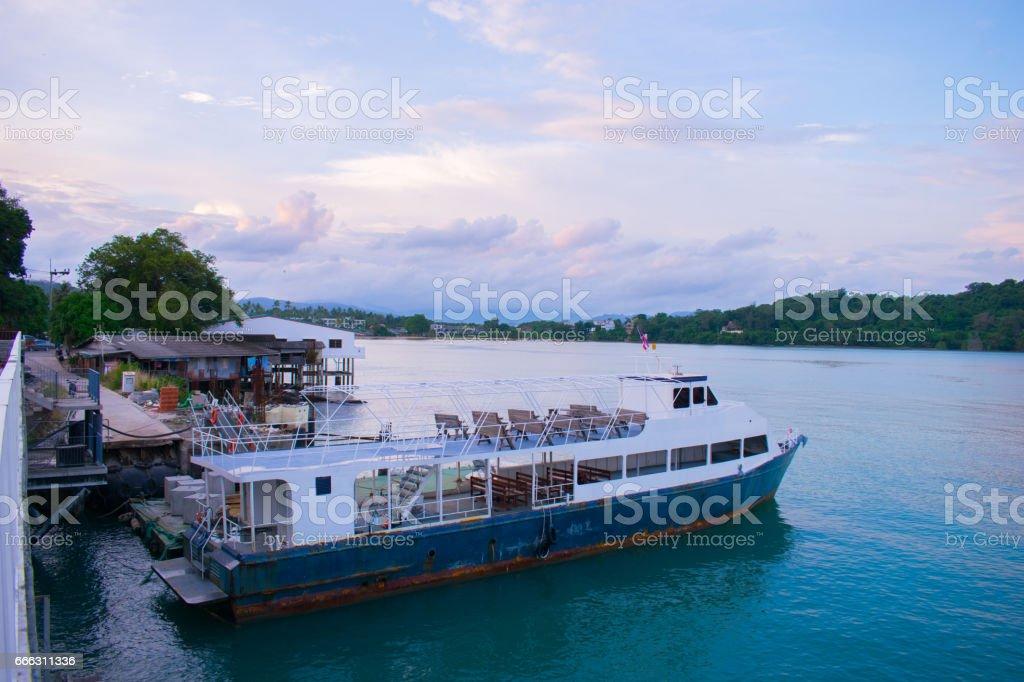 big boat on sea thailand phuket stock photo