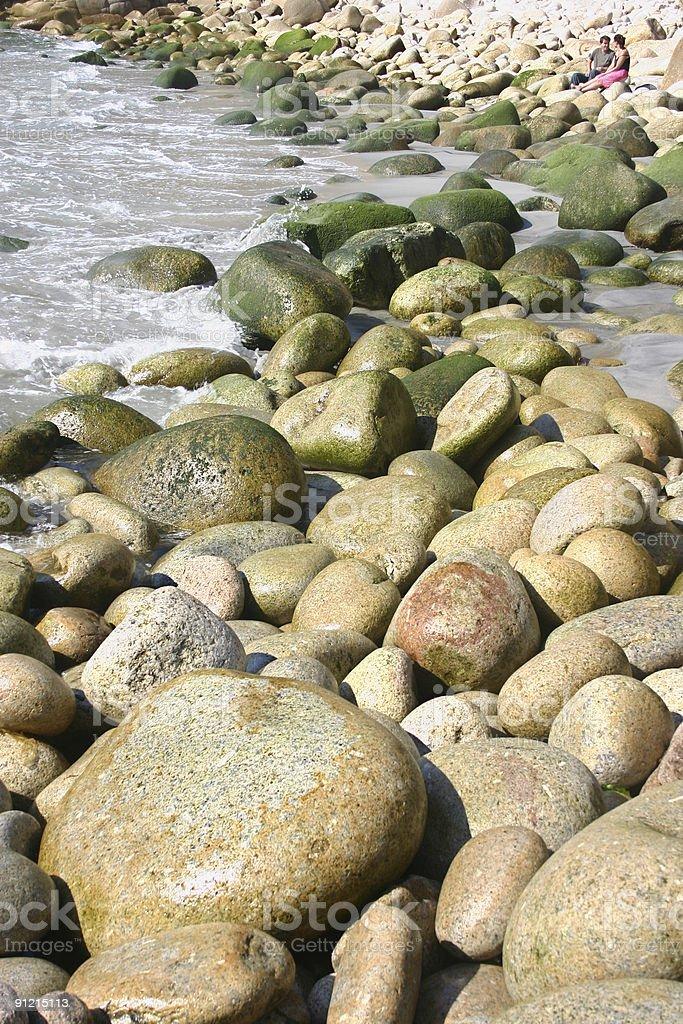 Big boulders along the English coast of Devon royalty-free stock photo