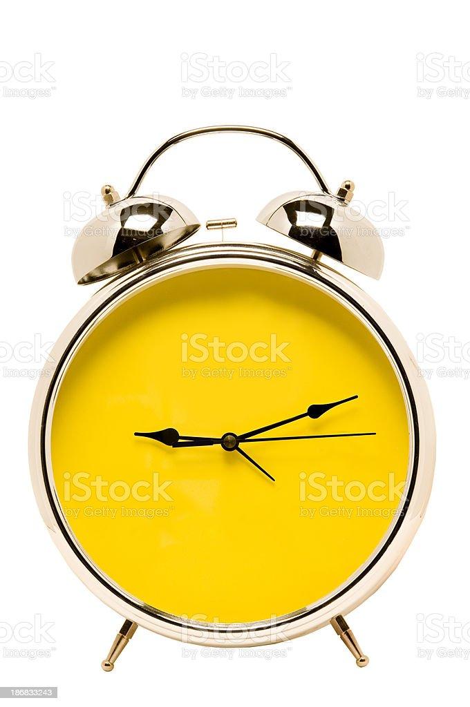 Big Bright Yellow Alarm Clock stock photo