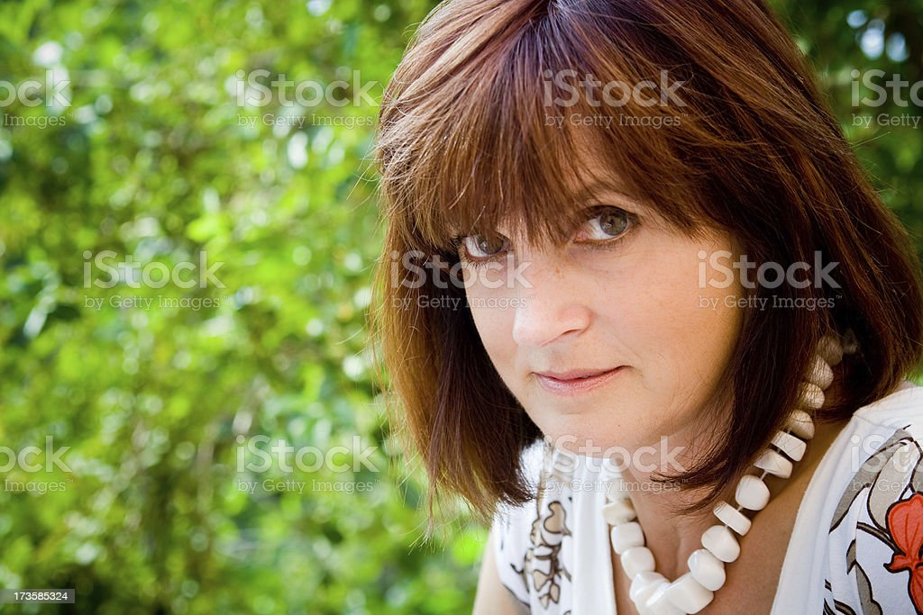 big brown eyes beauty glance stock photo