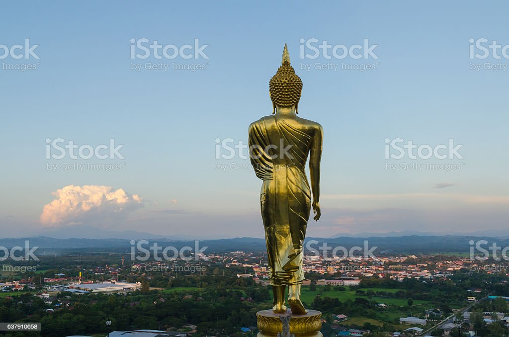 Big buddha and cityscape in nan province thailand stock photo