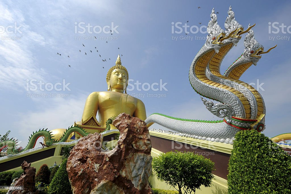 'Big Buddha and Nakn statue at Angthong Province, Thailand' stock photo