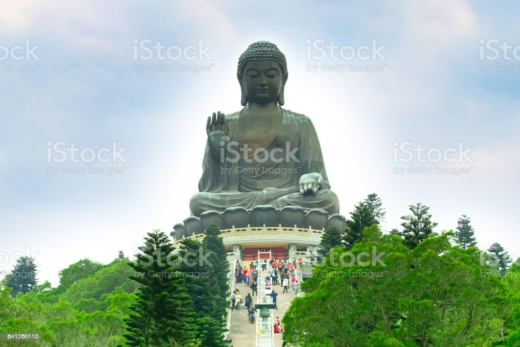 Big Buddha at Lantau island, staircase to statue stock photo