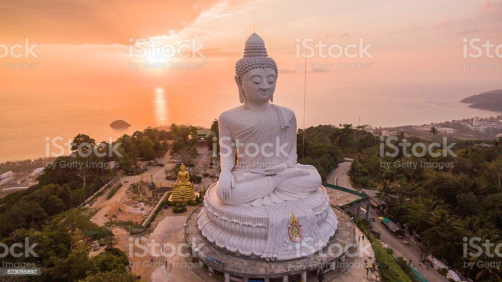 Big Buddha in orange background stock photo