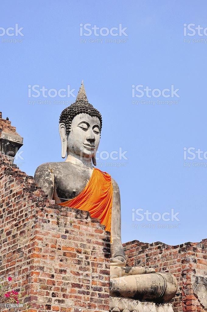 Big Buddha in temple of Wat Yai Chaimongkol royalty-free stock photo
