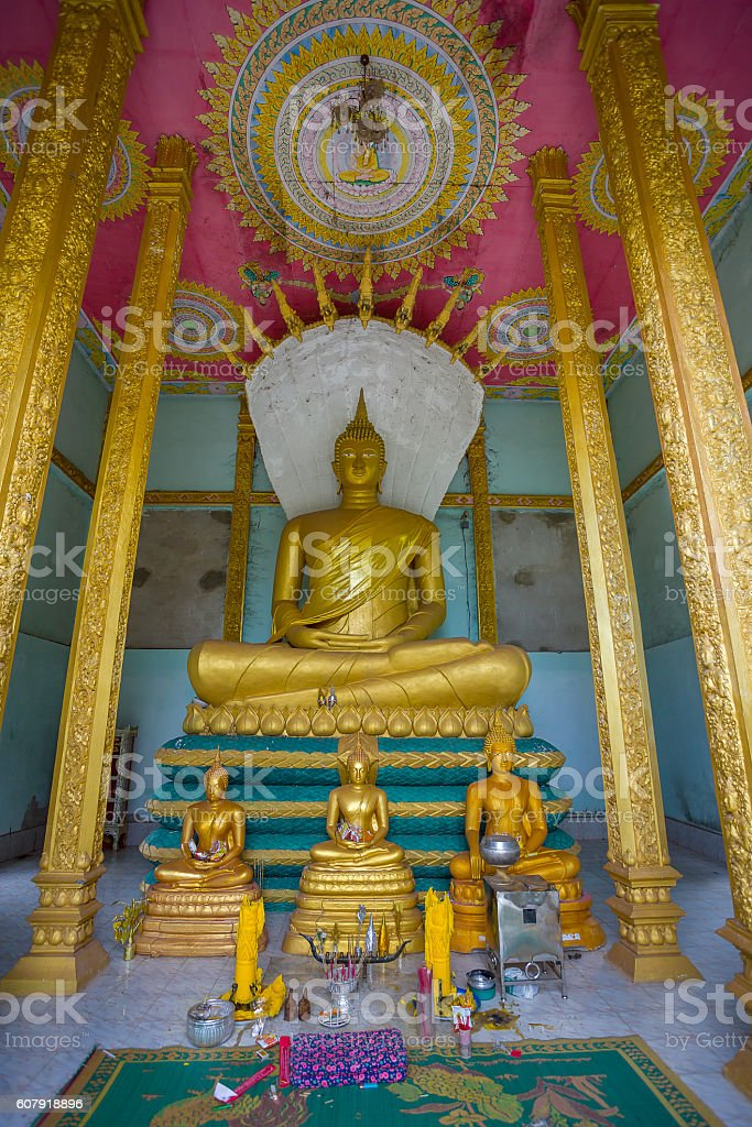 Big buddha statue and three buddha statue in laos stock photo