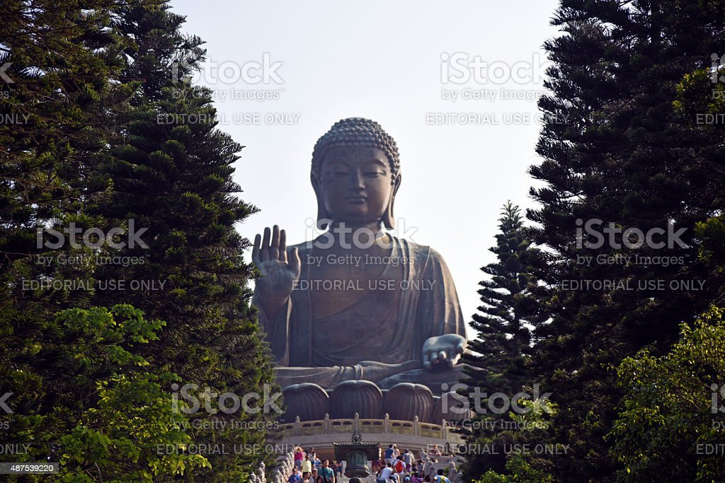 Big Buddha statue from the front stock photo