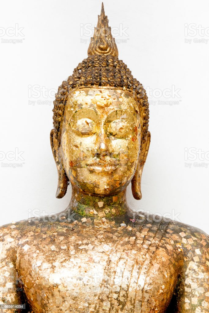 Big buddha statue with gold leaf in thai temple stock photo