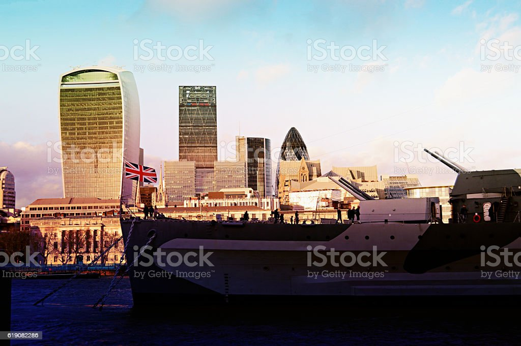 Big buildings in Liverpool Street near Thames  in London stock photo