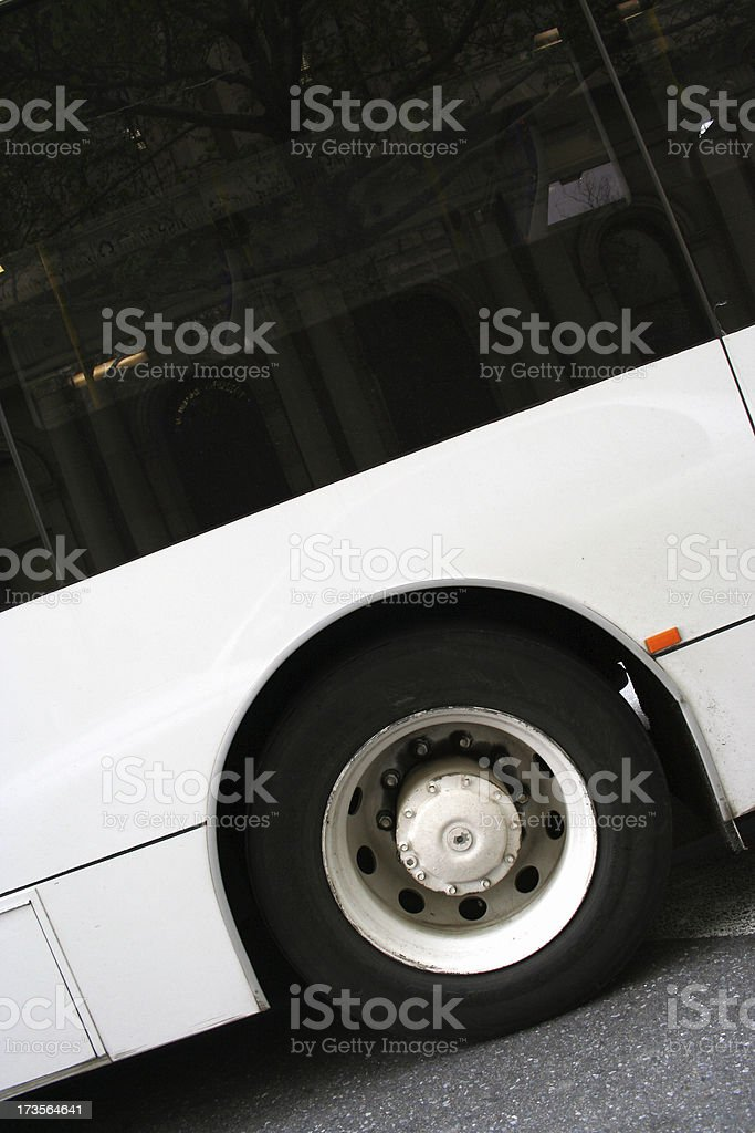 Big bus passing by stock photo