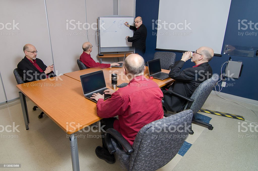 Big business meeting with self stock photo