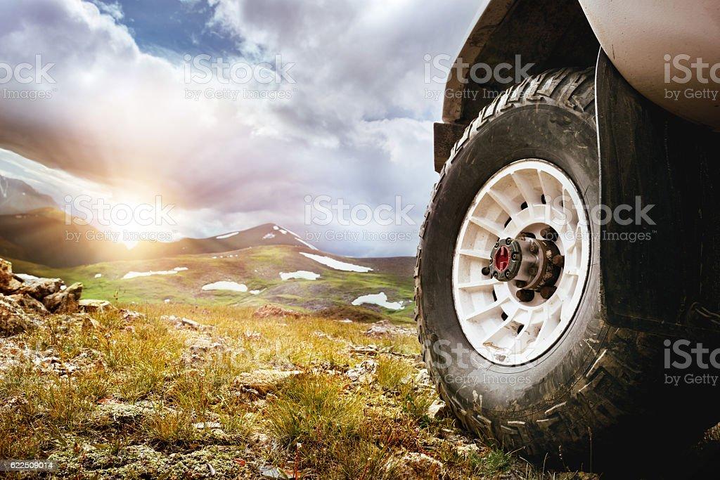 Big car wheel offroad concept stock photo