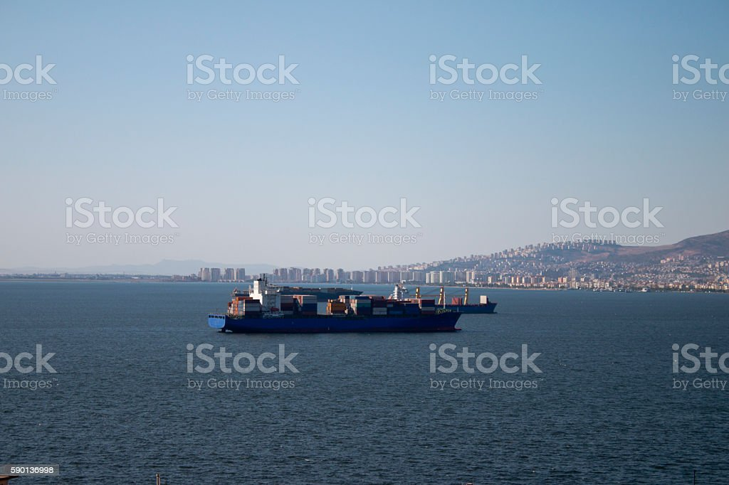 Big Cargo Container Ship on the Gulf of izmir stock photo
