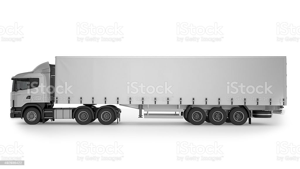 Big Cargo Truck on white background stock photo