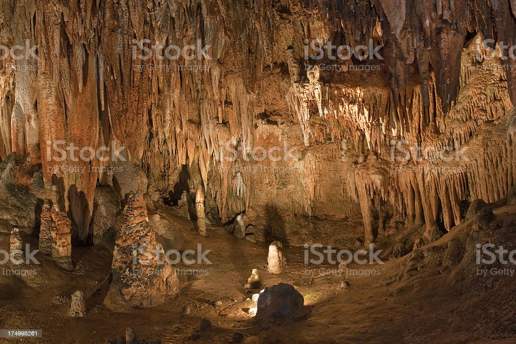 Big Cavern with many colorful stalactites royalty-free stock photo