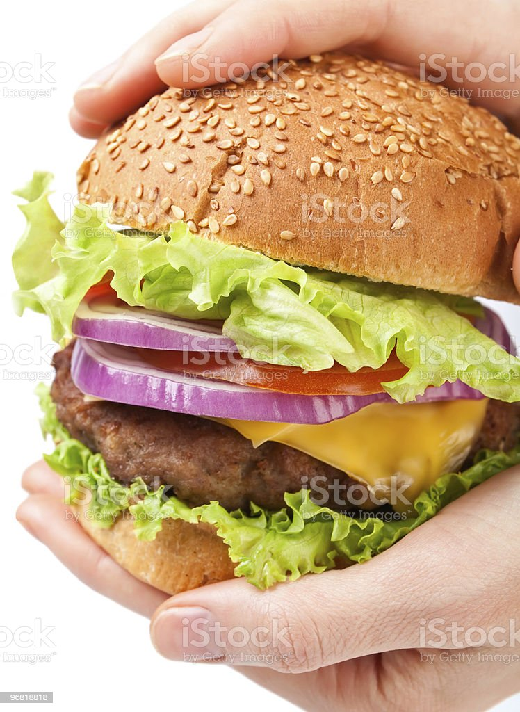 Big cheeseburger in hands royalty-free stock photo
