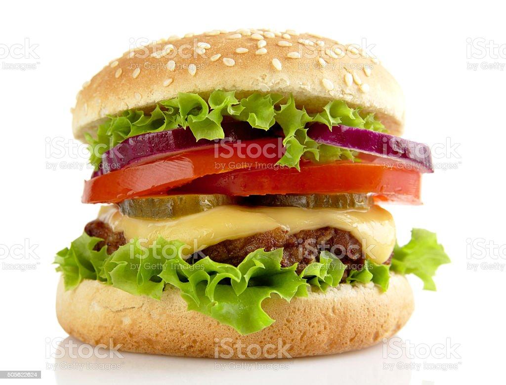 Big cheeseburger isolated on white background stock photo