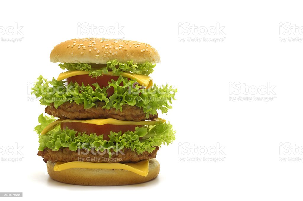 big cheeseburger on white background royalty-free stock photo