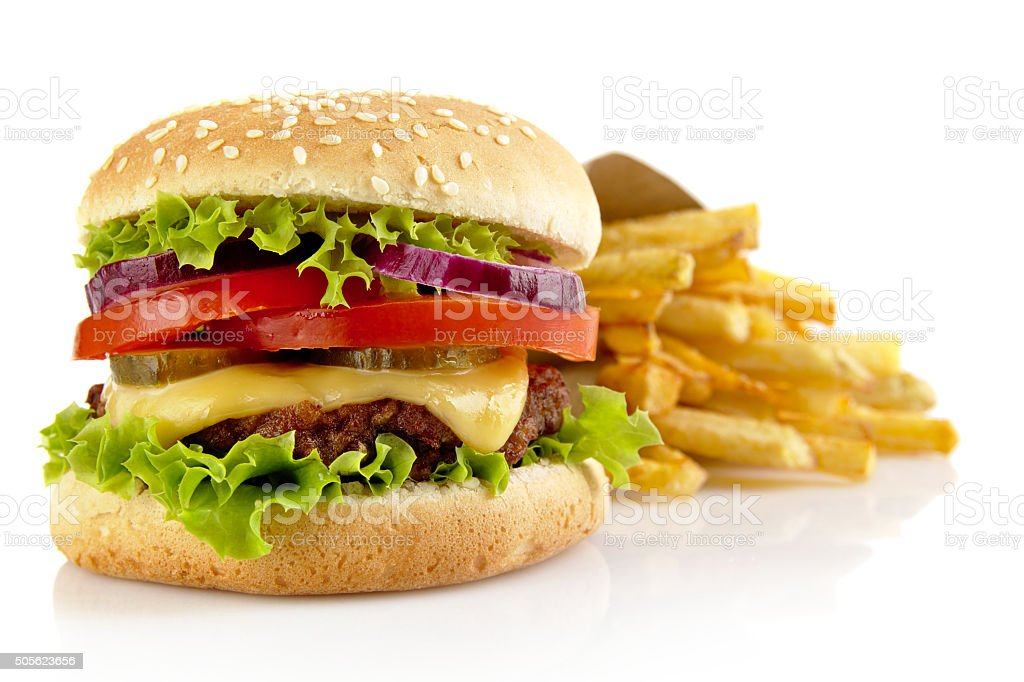 Big cheeseburger with french fries isolated on white background stock photo