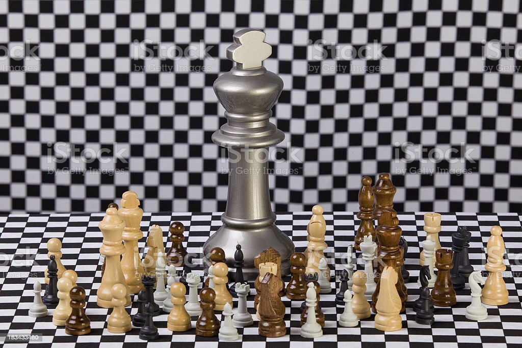 Big chess king  and other pieces on plaid background royalty-free stock photo