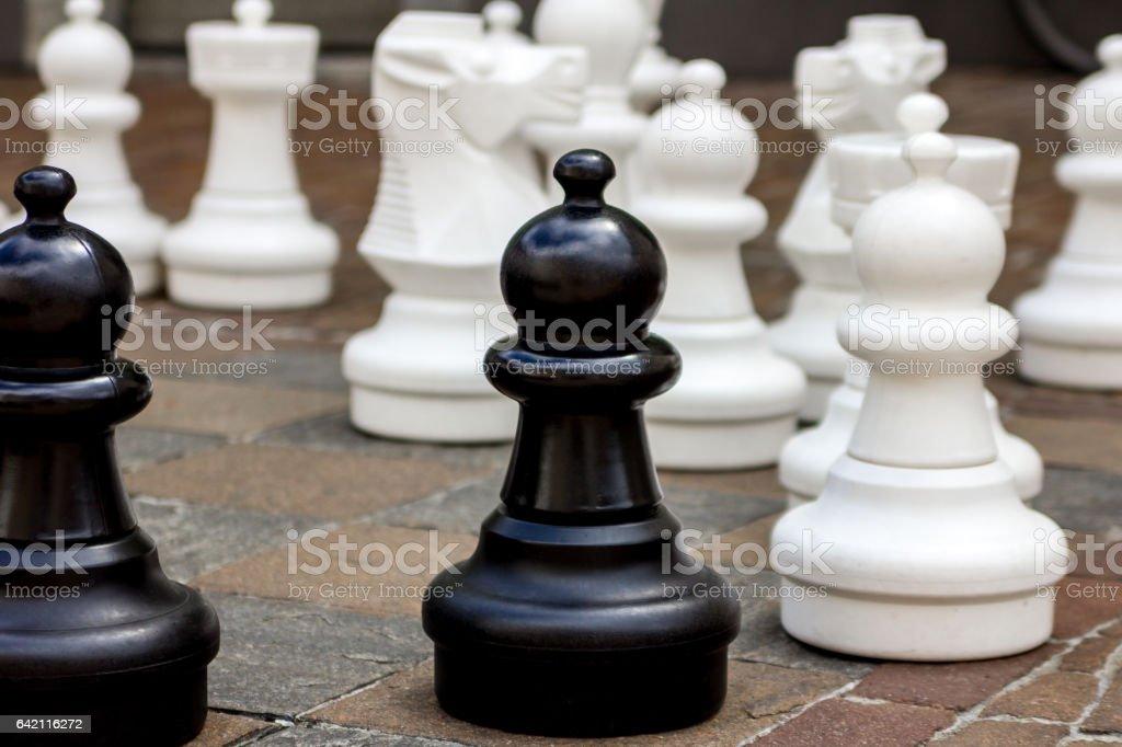 Big chesses in a public square stock photo