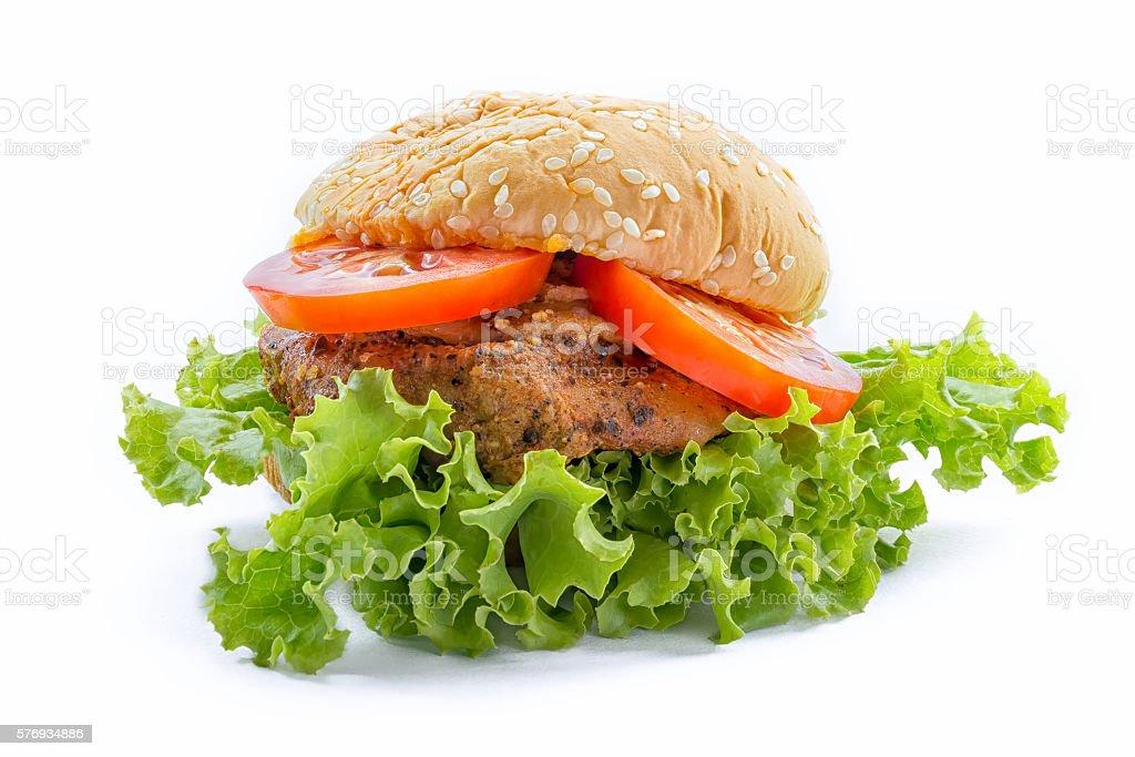 Big chicken hamburger stock photo