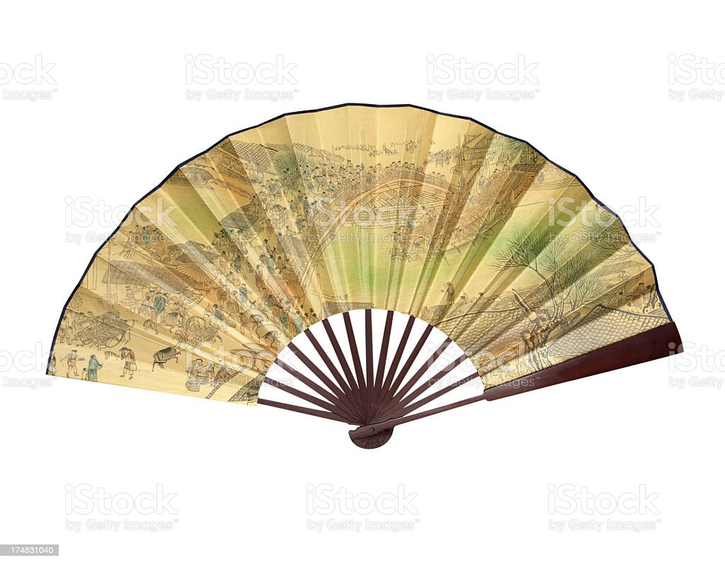 Big Chinese silk fan royalty-free stock photo