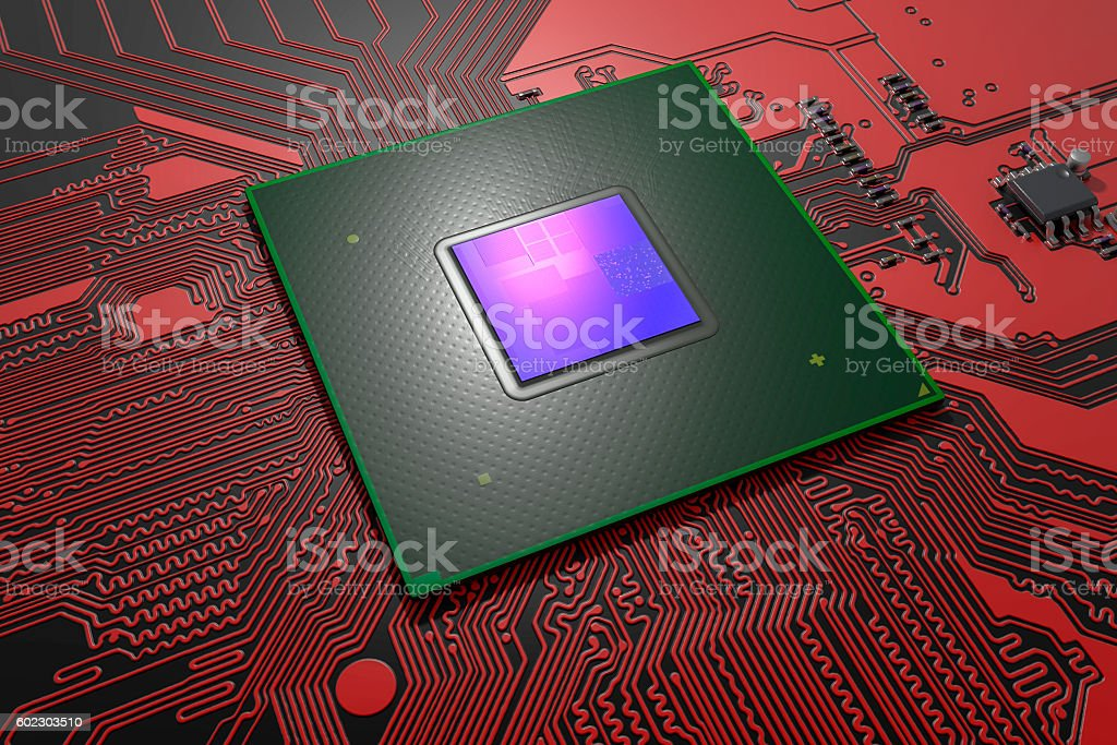 Big chip on the printed circuit board stock photo