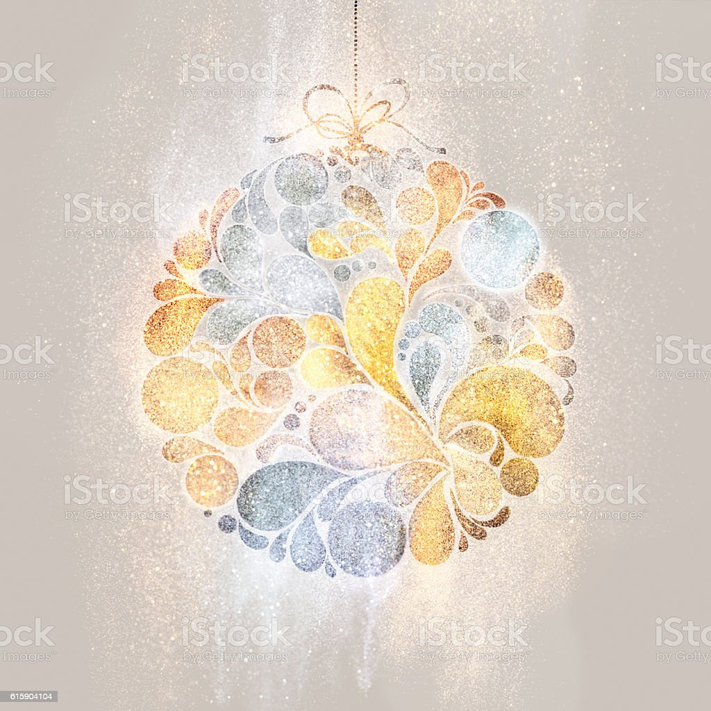 Big Christmas glittering bauble stock photo