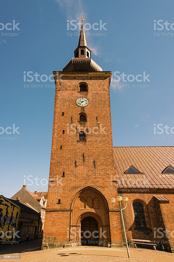 Big church tower with a clock stock photo