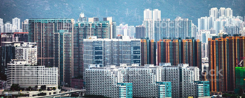 Big city apartment buildings. stock photo