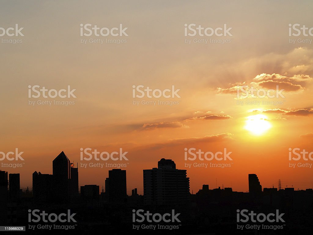 Big city in the evening royalty-free stock photo