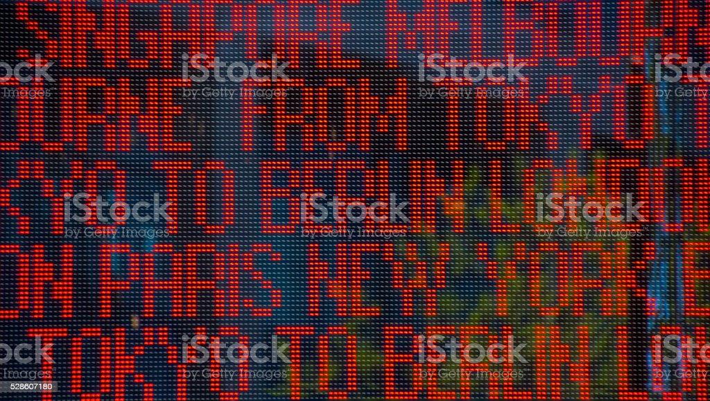 big city names on led light board stock photo