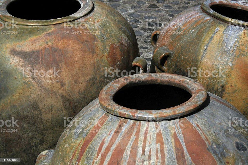Big clay jars   Antigua, Guatemala royalty-free stock photo